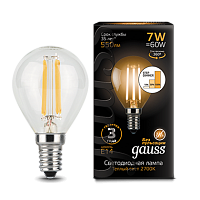 Gauss Лампа LED Filament Globe E14 7W 2700K step dimmable 1/10/50